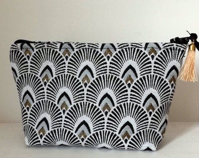 Clutch, pouch, makeup, scales, gold and black pattern and silver, fashion accessory, modern fabric