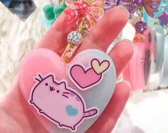 Kawaii Pink and Blue Pusheen Key Chain and Purse Accessory
