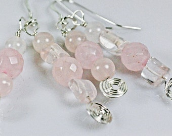 Dangle earrings with rose quartz and sterling silver