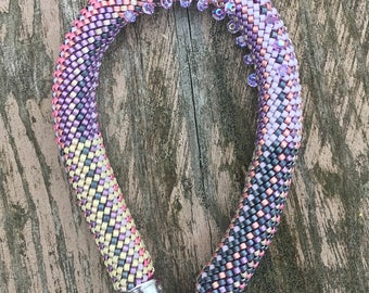 Blueberry Cream Cheese Bracelet Pattern & Instructions Single Crochet with Beads