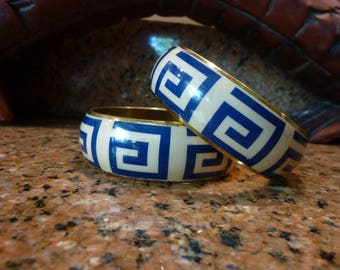 Pair of Bangle Bracelets with Blue on Cream Greek Key Design