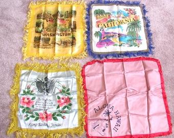 Four 1950s Vintage Souvenir Pillow Cases: California, Washington State, Camp Barkeley Texas (Army), Hawaii