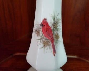 Fenton Hand Painted Cardinal Milk Glass Vase, Artist Signed