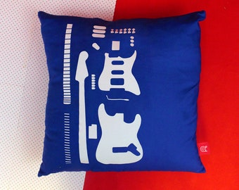 Blueprint Guitar Cushion - Electric Guitar Pillow - Guitar Diagram Cushion - Music Pillow - Gift For Musician - Bedroom Decoration