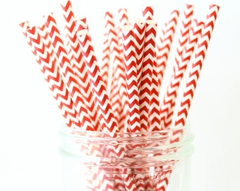 Red Party Straws, Red Paper Chevron Straws 25, Red Wedding Decor, Chevron Straw, Wedding Bar, Party Straws, Paper Straw, Drink Straw