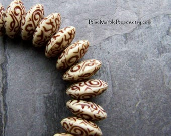 Reserved for Sue, Disc Bead, Etched Bead, Carved Bead, Brown And White, Scroll Work, Unique Bead, Boho Bead, Tribal Bead, 20 Beads