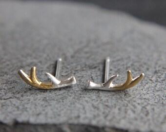 Deer Antler Earrings 925 sterling silver-bicolor-small filigree
