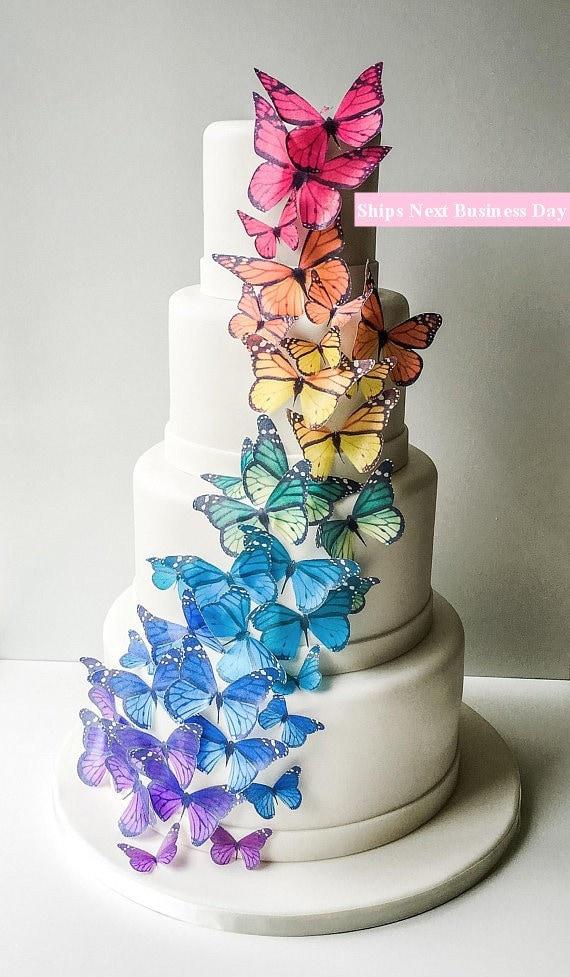 Wedding Cake Topper EDIBLE BUTTERFLIES Edible Monarch