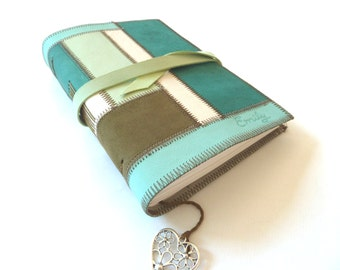 Leather Patchwork Journal, Personalised, Engraved
