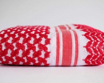 Red & White Palestinian Scarf Keffiyeh Arafat Edition