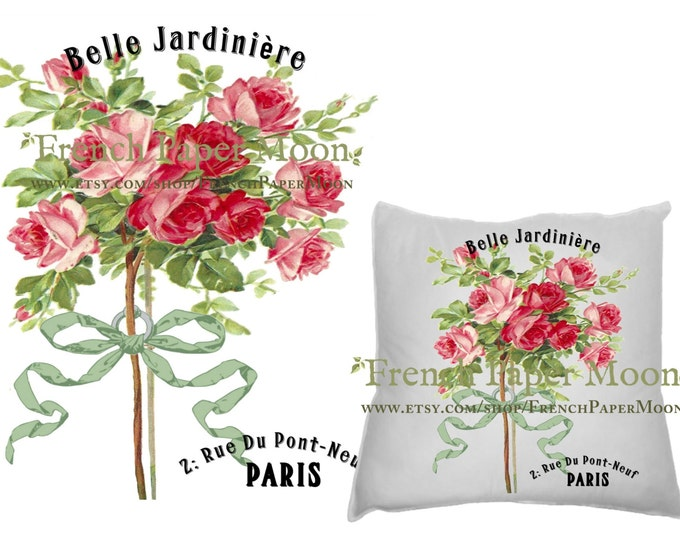 Vintage Digital French Graphic Rose Topiary Tree, French Pillow Transfer Graphic, French Iron On Fabric, Instant Download