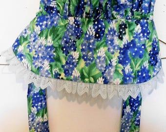 SALE Handmade Sun Bonnet, Bluebonnet Print, Small