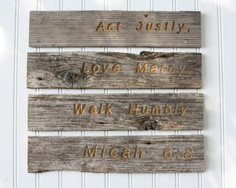 Micah 6:8 wooden sign