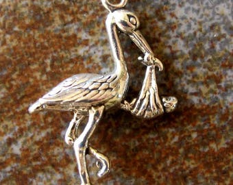 Sterling silver STORK and BABY charm. 3 D charm. 20 x 25mm. Solid Sterling silver charm pendant. New baby pendant