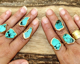 Mother,Raw Stone Ring, Turquoise,Stackable, Gold,Raw Turquoise Ring,Stacking Ring, Turquoise Ring, Turquoise Jewelry,Boho Ring,Statement .