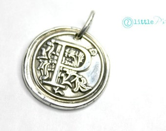 Initial Jewelry  Gift  Monogram Wax Seal Charm  Mom Jewelry Charm Only