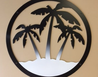 Three Palm Tree Round Wall Sign