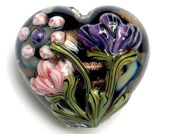 11814825 Hidden Garden Heart (Large) - Handmade Glass Lampwork Bead