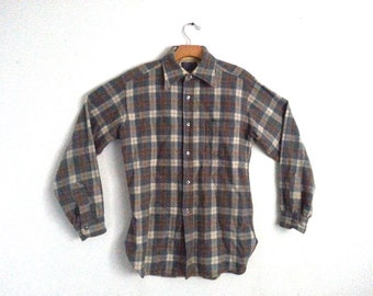 Vintage Pendleton Shirt Wool Gray Button Down Men's Medium