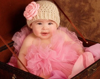 Baby Hat, Baby Girl Crochet Hat,  Baby Beanie Hat With Flower, Baby Girl Hat, Beige and Pink, Baby Girl. Crochet Hat, MADE TO ORDER, Baby