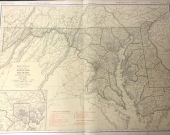 Rare 1888 Maryland Delaware Antique Map Detailed colored