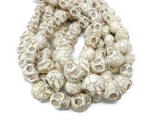 Bone White Howlite - Large Skull - 18mm x 17mm x 14mm - 23 or 12 beads - Whole or Half Strand -  White Turquoise - Skulls - Ivory Cream