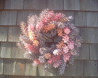 Easter Wreath, Spring Wreath - Painted Pine Cone Wreath - pinks, cream orange