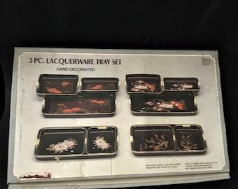 Vintage 3 Piece Lacquerware Tray Set