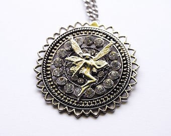 Fantasy Fairy Crystal Diamond Pendant Necklace, One of a Kind