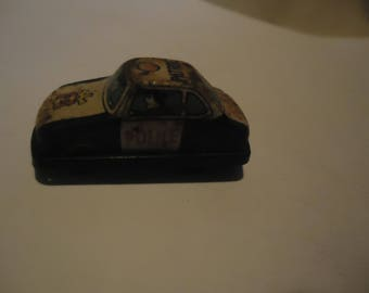 Vintage Miniature Friction Tin Police Car, Made In Japan,  collectable