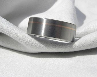 Titanium Ring with Offset Rose Gold Pinstripe Inlay Satin Finish
