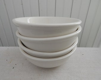 White Ultima China Bowls - Set of Four Soup or Cereal Bowls - Mid Century Ironstone Ultima Restaurantware China - Restaurant Ware Bowl Set