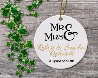Mr. and Mrs. Our first married Christmas ornament, Christmas married wedding gift, newlywed ornament, just married ornament  - 063