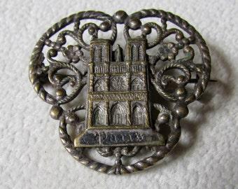 Paris Souvenir Pin Notre Dame Vintage