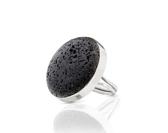 Black round Lava Stone Ring, made with sterling silver, big black ring, chunky ring, statement ring, coctail ring