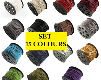 SET - 15 Colours - Suede Cord with IMITATION LEATHER, Faux Suede, String, Thong 3mm x 1.5mm