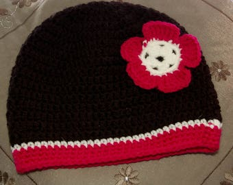 Cute baby hat size 6-12 months black pink and white