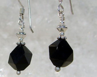 Onyx earrings and silver buckles