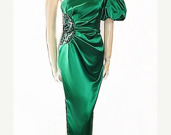 20% off Memorial Day Sale Vintage Miss Bergdorf Evening Gown Satin Beaded One Shoulder Art Decco vintage dress vintage evening gown green ev