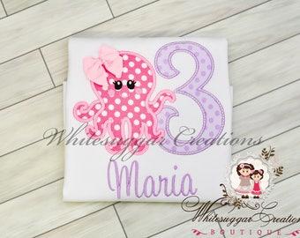 Girls Octopus Birthday Shirt - Custom 1st Birthday Shirt - Under the Sea Party - Aqua and Pink Birthday Shirt