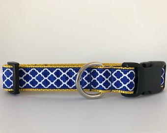 CCI Blue and Yellow Quatrefoil 1 inch Collar