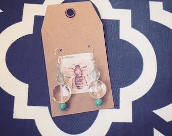 Boho chic blue dangle earrings