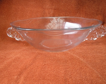 Clear glass large salad bowl