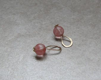 Pink Earring Dangle Rose Quartz Bead Gold Filled Wire