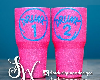 Drunk 1 and Drunk 2 Glitter Neon Pink Tumblers.