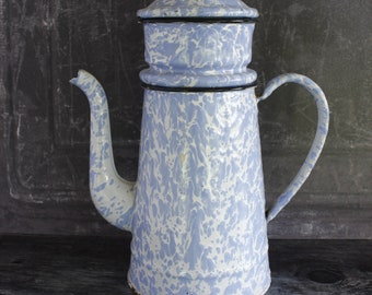 French enamel Coffee Pot..Blue and White Speckle Finish.