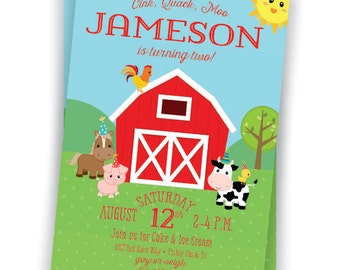 Farm 2nd Birthday Invitation 5x7 Custom Digital Download Printable Cute Barnyard Birthday Boy