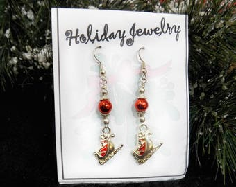 Santa Holiday Dangle Earrings - silver red drop earrings -beaded Holiday earrings -  Christmas earrings - Christmas beaded earrings, # J 37