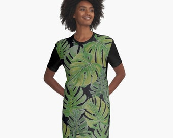 Monstera Leaves T-Shirt Dress  XS S M L XL 2XL Tropical Nature green Black Clothes Fashion Woman Teen Ladies Dress Wearable Art Clothing