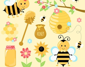 Bumble Bee Clipart, Bee Clipart, Bumble Bees, Honey Clipart, Printable, Commercial Use